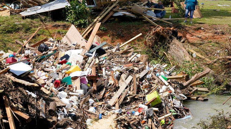 Debris left behind over a stream in Waverly