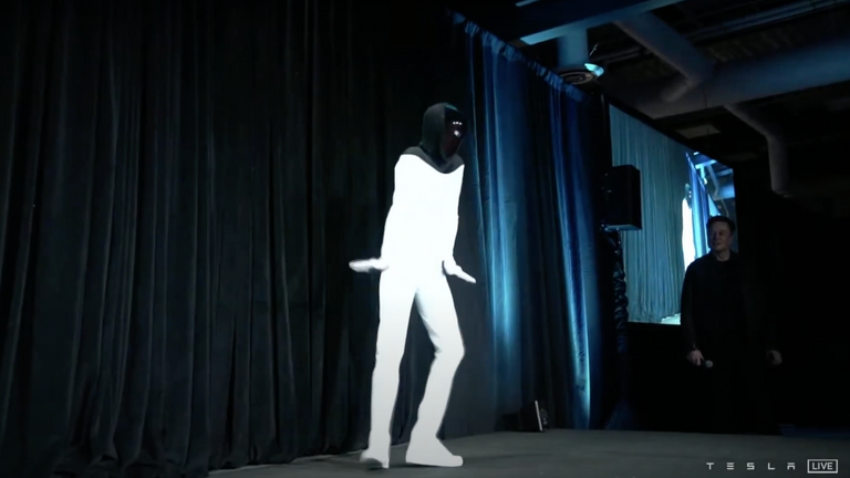 Elon Musk promised 'Tesla Bots' within a year, as a person in a costume danced on stage. Pic: Tesla