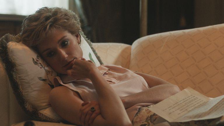 First-look image of Elizabeth Debicki as Princess Diana in season five of The Crown. Pic: Netflix