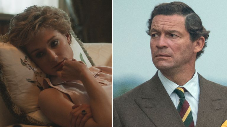 First-look images of Elizabeth Debicki and Dominic West as Princess Diana and Prince Charles in The Crown. Pic: Netflix