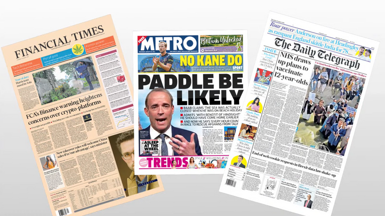 Sky News takes a look at the stories making a splash in Thursday's national newspapers