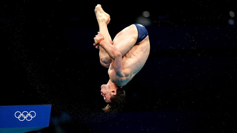 Great Britain's Tom Daley during the Men's 10m Platform Final at the Tokyo Aquatics Centre on the fifteenth day of the Tokyo 2020 Olympic Games in Japan. Picture date: Saturday August 7, 2021.