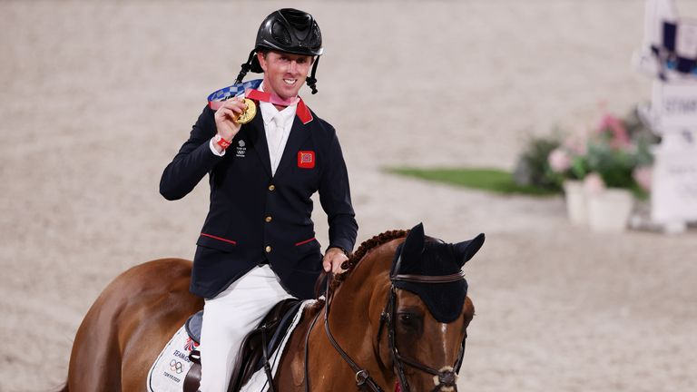 Ben Maher, 38, endured a tense jump-off against five other riders to win gold in the individual showjumping.