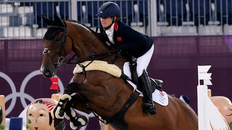 Laura Collett, riding London 52, competes during the equestrian eventing in Tokyo. Pic: AP
