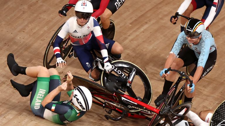 Laura Kenny had a disappointing start to the women's omnium after she was involved in a crash in the first race and being eliminated early in the third