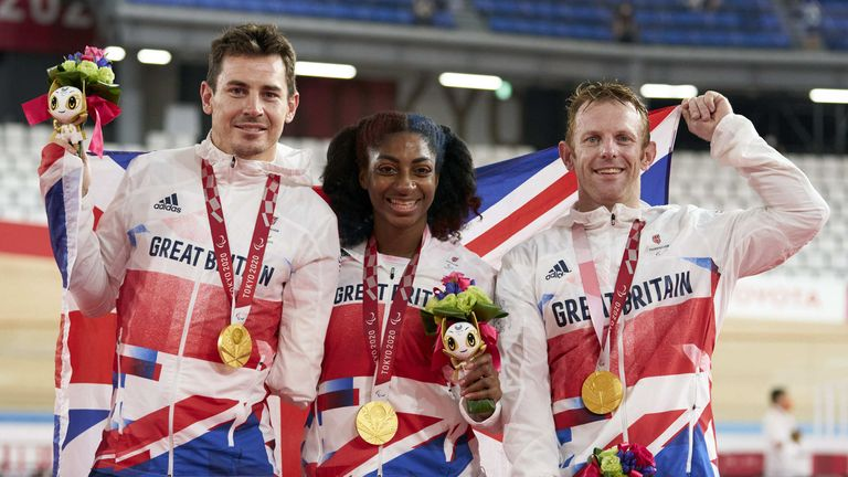 Handout photo dated 28/08/2021 provided by ParalympicsGB/imagecomms of ParalympicsGB Cyclists, Kadeena Cox aged 30, from Leeds, Jaco Van Gass aged 35, from Sale, Jody Cundy aged 42 from Wisbech, win gold in the Mixed C1-5 750m Team Sprint event at the Izu Velodrome during day four of the Tokyo 2020 Paralympic Games in Japan. Picture date: Saturday August 28, 2021.