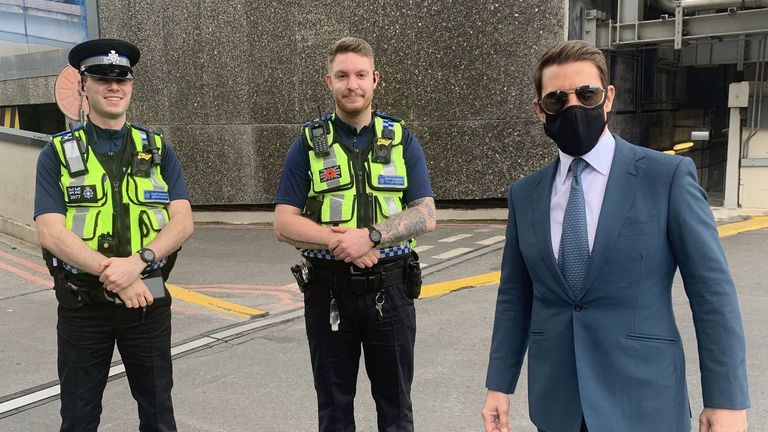 British Transport Police shared an image of two officers with the actor