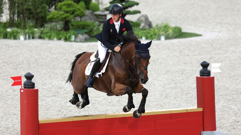 Tom McEwen on Toledo de Kerser in the individual eventing, where he took silver. Pic: AP