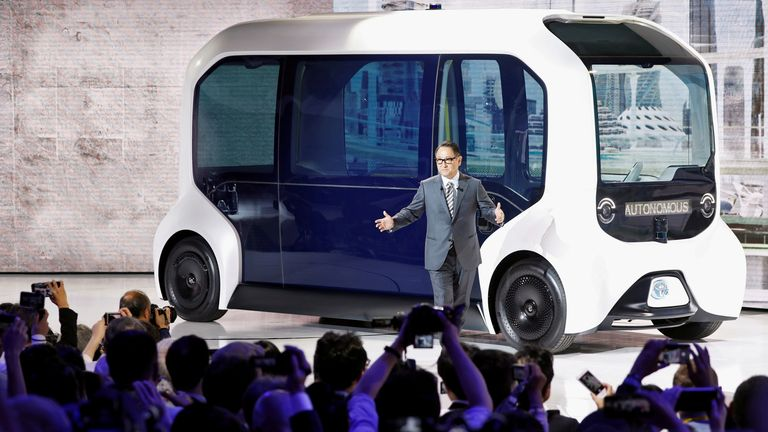 FILE PHOTO: Tokyo Motor Show 2019 FILE PHOTO: Toyota Motor Corporation President Akio Toyoda, shows the e-Palette autonomous concept vehicle at the Tokyo Motor Show, in Tokyo, Japan October 23, 2019. REUTERS/Edgar Su/File Photo