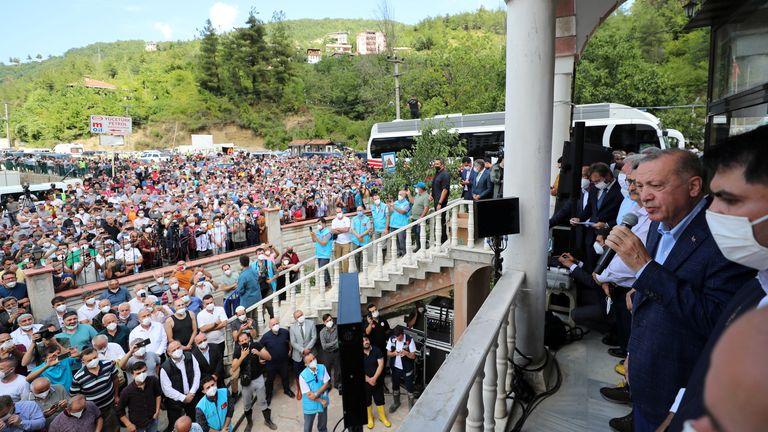Turkish President Tayyip Erdogan flew to Bozkurt to meet flood victims