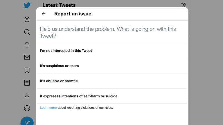Twitter's feature to report posts doesn't currently cover misinformation