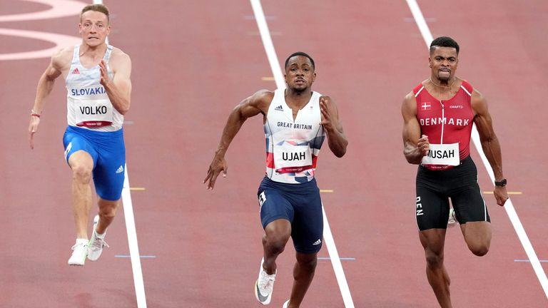 Ujah ran the first leg of the sprint relay