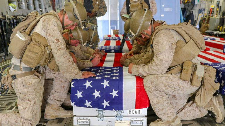The ISIS-K suicide attack at the airport killed 13 US service personnel and dozens of civilians. Pic: AP