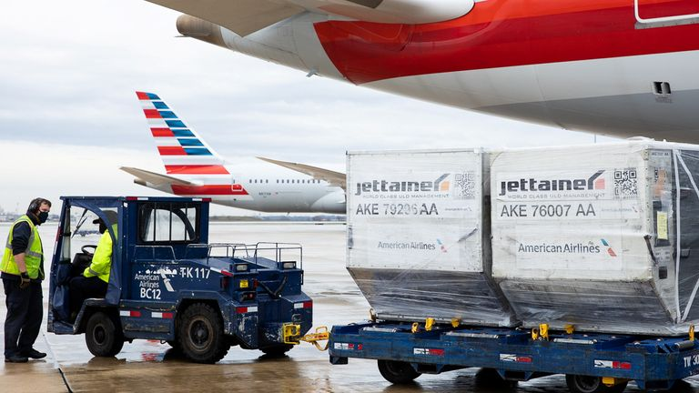 An American Airlines cargo plane is unloaded at Philadelphia International Airport in Philadelphia, Pennsylvania, U.S., December 4, 2020. American Airlines Cargo is the largest facility for pharmaceutical products on the East Coast, and could soon be used to store the coronavirus disease (COVID-19) vaccines. REUTERS/Rachel Wisniewski