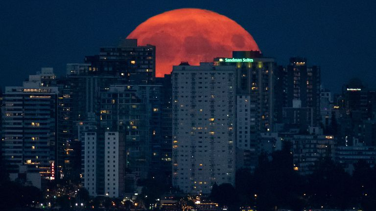 Vancouver skyline at night as Canada goes on green list