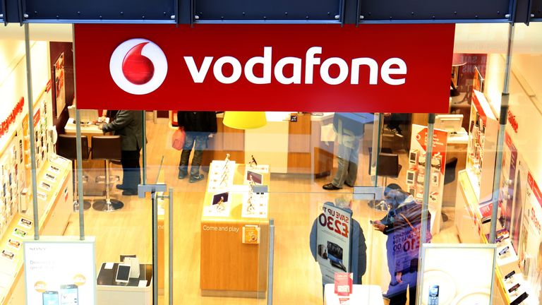 General view of a Vodafone store in Cambridge.
