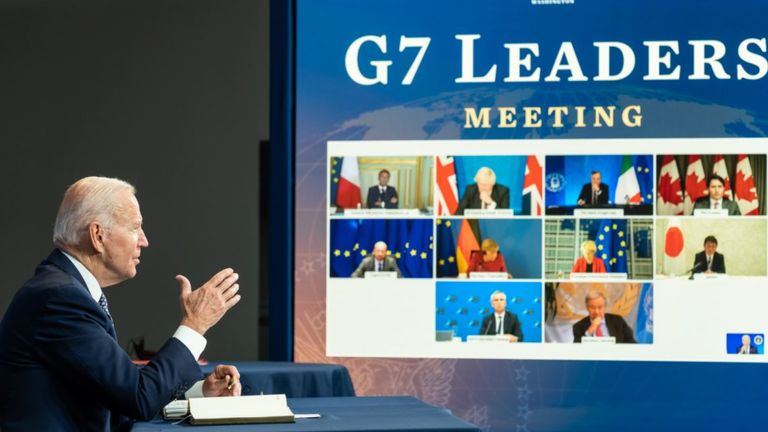 An image released by the White House showing Joe Biden as he addresses an emergency G7 call on the Afghanistan crisis
