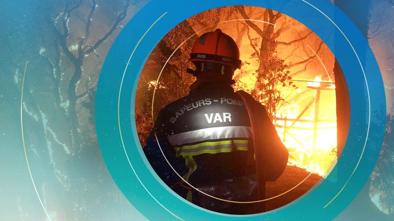 The fire broke out in the Var region in souther France and hundreds of firefighters were battling the blaze on Tuesday morning