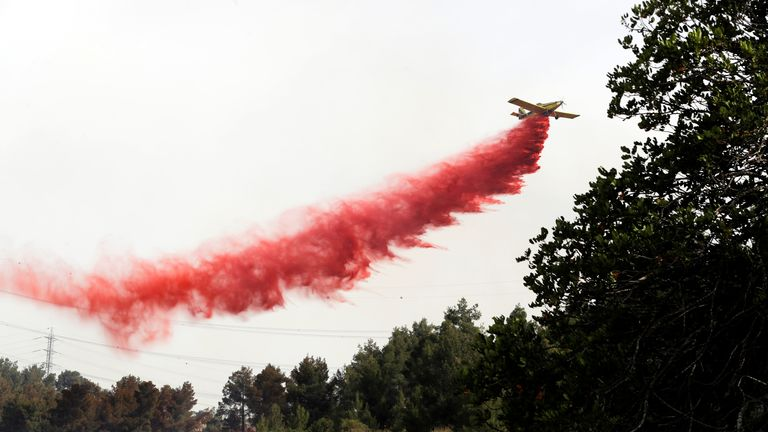 A firefighting aircraft flies over a forest near Kibbutz Harel, which was damaged by wildfires during a record heatwave in Israel