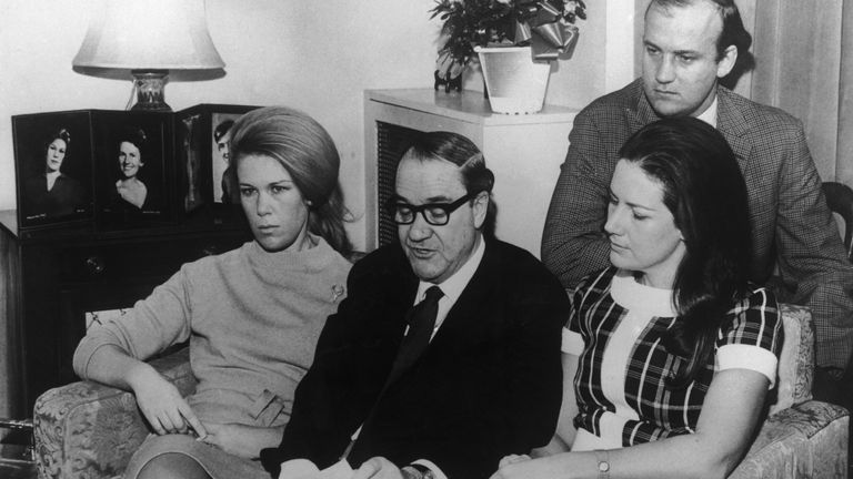 Australian newspaper executive Alick McKay makes an appeal from his home in Wimbledon for the safe return of missing wife Muriel on 9 January 1970, accompanied by his son Ian and daughters Jennifer (left) and Diana. It later transpired that Mrs McKay had been kidnapped, having been mistaken for the wife of media mogul Rupert Murdoch. Pic: Keystone/Hulton Archive/Getty Images/Sky UK