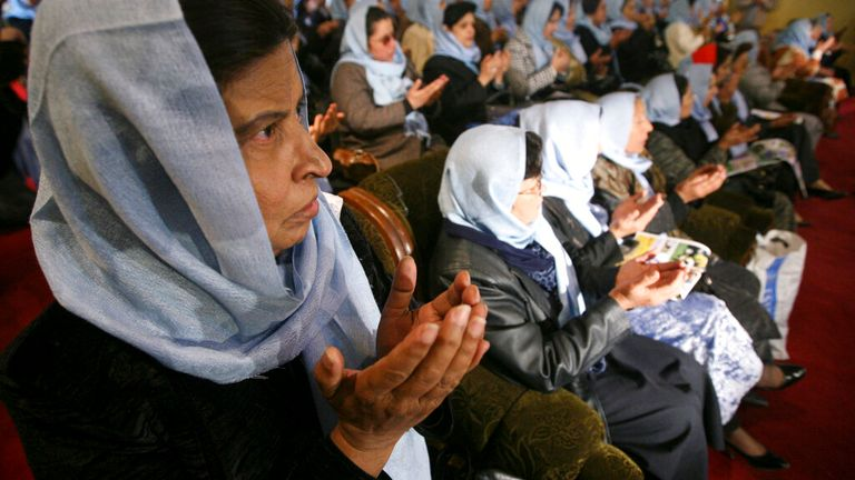 Afghan women pray for justice and security of the country during a gathering to mark the International Women's Day on Sunday, March 8, 2009 in Kabul, Afghanistan. Since after collapse of the extremist-regime of the Taliban, Afghanistan celebrates International Women's Day. (AP Photo/Musadeq Sadeq)