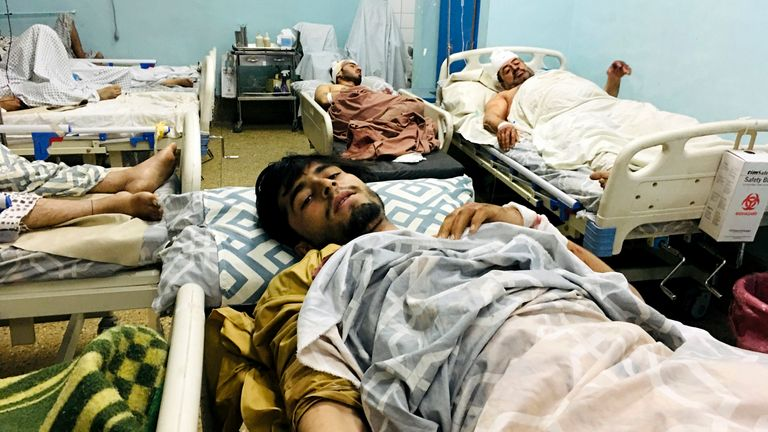 Wounded Afghans in hospital after the attacks at the airport in Kabul, Afghanistan Pic: AP