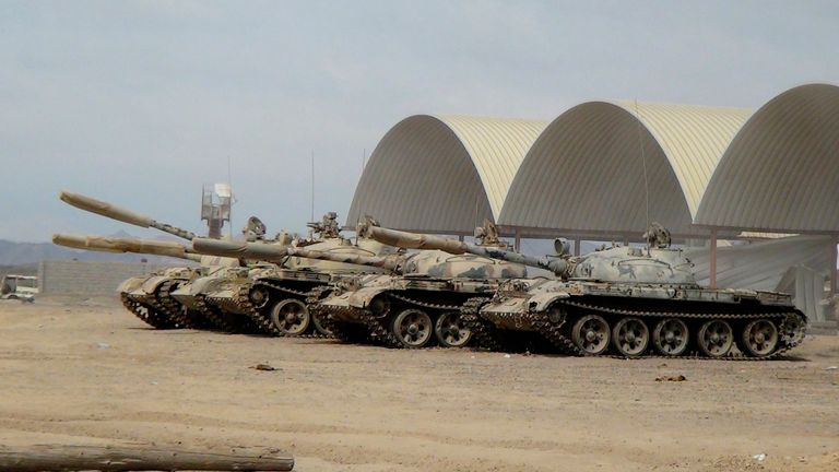 Tanks take positions at the al-Anad air base in the southern province of Lahej. Pic: AP