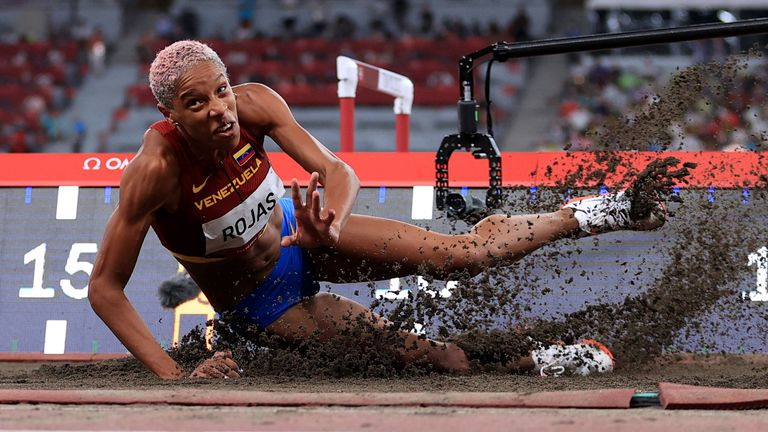 Yulimar Rojas of Venezuela in action in the triple jump
