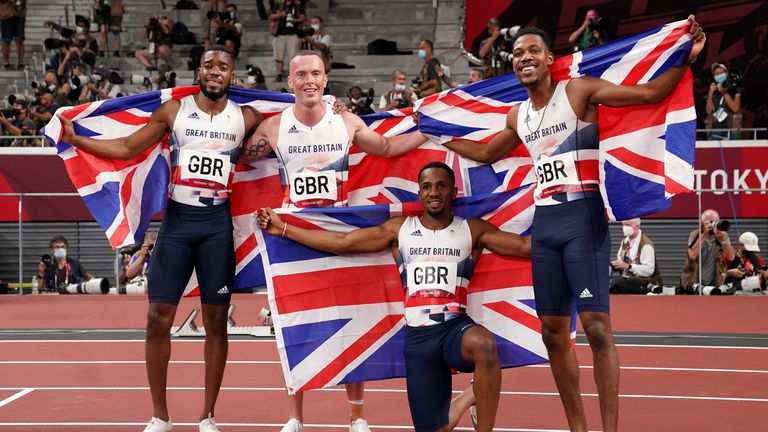 (Left to right) Nethaneel Mitchell-Blake, Eichard Kilty, CJ Ujah and Zharnel Hughes celebrate their silver medal