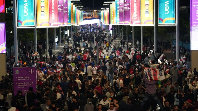 Fans leave Wembley at the end of the Euro 2020 final in which Italy beat England on penalties