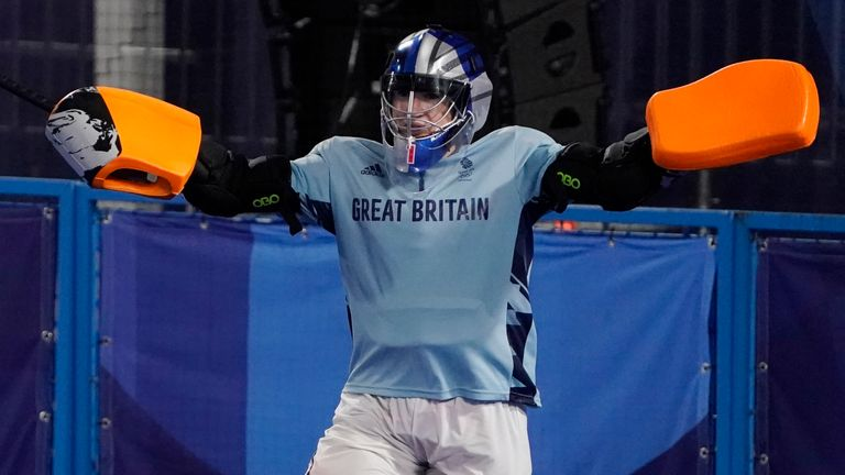 Britain's Maddie Hinch (1) celebrates after Britain defeated Spain in a shoot-out during a women's field hockey match at the 2020 Summer Olympics, Monday, Aug. 2, 2021, in Tokyo, Japan. (AP Photo/John Minchillo)