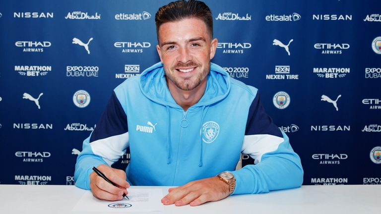 Jack Grealish has joined Manchester City from Aston Villa for a British transfer record of £100m (Credit: Man City)