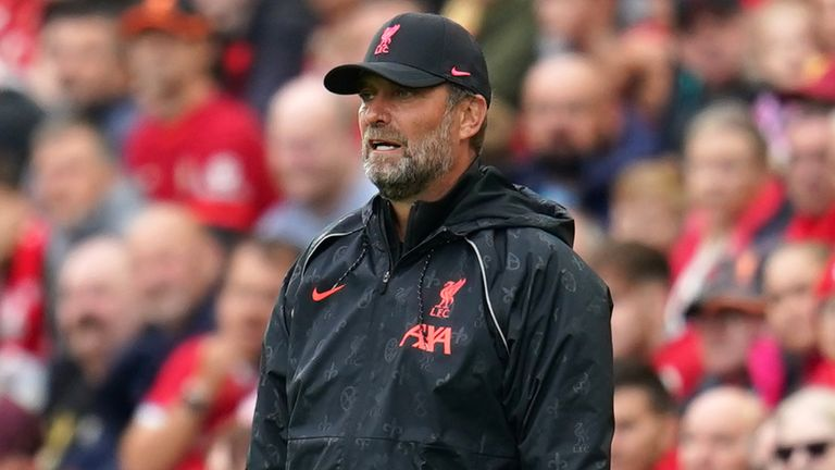 Liverpool manager Jurgen Klopp during the Pre-Season Friendly match at Anfield, Liverpool. Picture date: Sunday August 8, 2021.