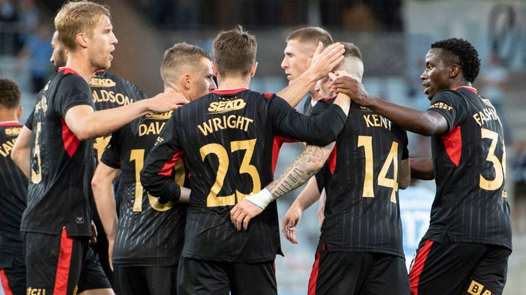 MALMO, SWEDEN - AUGUST 03: The Rangers players celebrate Steven Davis' goal during a Champions League qualifier between Malmo and Rangers at the Eleda Stadion, on August 03, 2021, in Malmo, Sweden. (Photo by Christoffer Borg Mattisson / SNS Group)