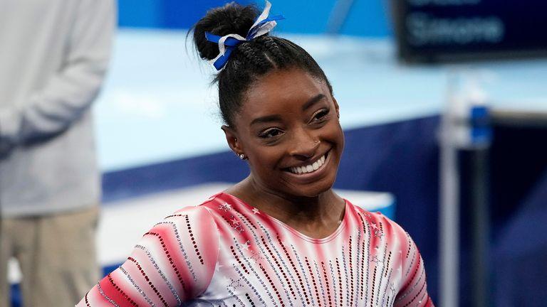 Simone Biles won bronze as she returned to action in Tokyo (AP Photo/Ashley Landis)