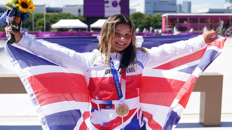 Brown collects the bronze medal for Britain