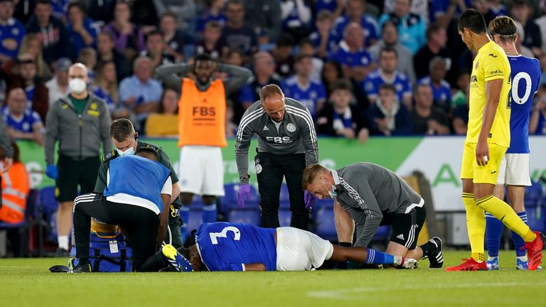 Wesley Fofana receives medical attention on the pitch during the pre-season friendly against Villarreal at the King Power Stadium on Wednesday