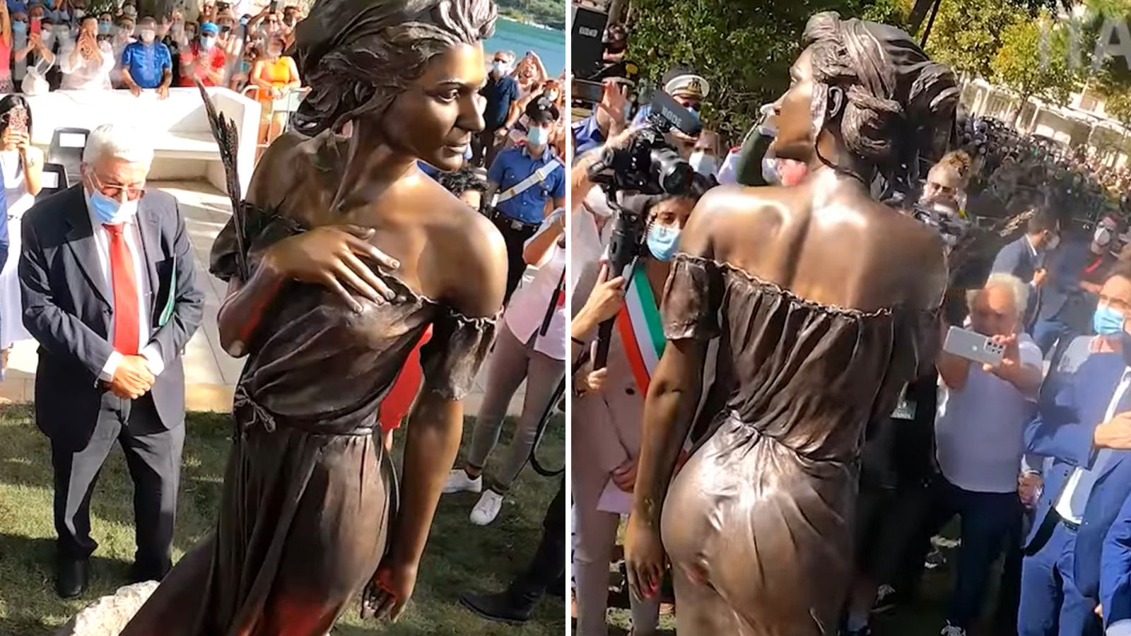 Bronze statue of woman in see-through dress sparks sexism row in Italy |  World News | Sky News