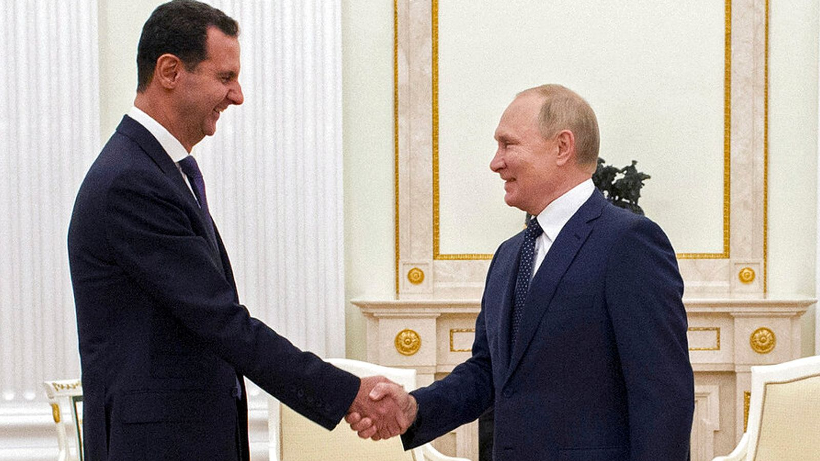 Putin heralds Assad's win over 'terrorists' as they meet in Moscow for first time since 2015