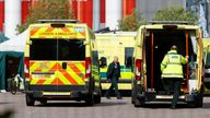 A general view of ambulances and staff outside the NHS Nightingale Hospital at the Excel Centre, following the outbreak of the coronavirus disease (COVID-19), London, Britain, May 5, 2020. REUTERS/John Sibley