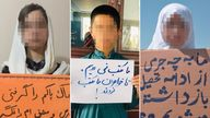 Youngsters protesting about girls not being able to school in Afghanistan