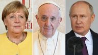 Angela Merkel, Pope Francis and Vladimir Putin