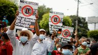 FILE PHOTO: War veterans protest to ask for better pensions and against the use of Bitcoin as legal tender in San Salvador, El Salvador, August 27, 2021. REUTERS/Jose Cabezas/File Photo