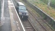 A motorist drove half a mile down train tracks at Duddeston Station in Birmingham. Pic: British Transport Police