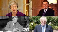 Theresa May, Tony Blair, Boris Johnson, Stanley Baldwin.  Pics@ PA /AP