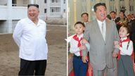 Composite image - North Korea leader Kim Jong Un  weight loss Left - October 1, 2020.  right - September 9, 2021