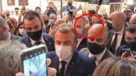 Emmanuel Macron hit with egg