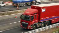 An HGV lorry on the M4 motorway near Datchet, Berkshire
