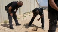 Police officers and prison guards inspect the scene of a prison escape outside the Gilboa prison in Northern Israel, Monday, Sept. 6, 2021. Israeli forces on Monday launched a massive manhunt in northern Israel and the occupied West Bank after six Palestinian prisoners escaped overnight from a high-security facility in an extremely rare breakout. PIC:AP