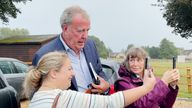Jeremy Clarkson with fans at the Memorial Hall in Chadlington